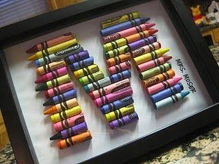 Quadro com letra feita de lápis de cera cortados