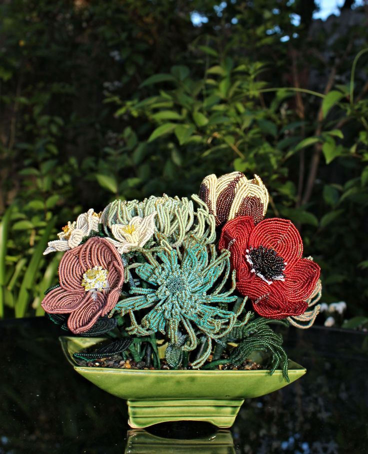 French Beaded Flowers Tulip, Poppies, Spider Mums
