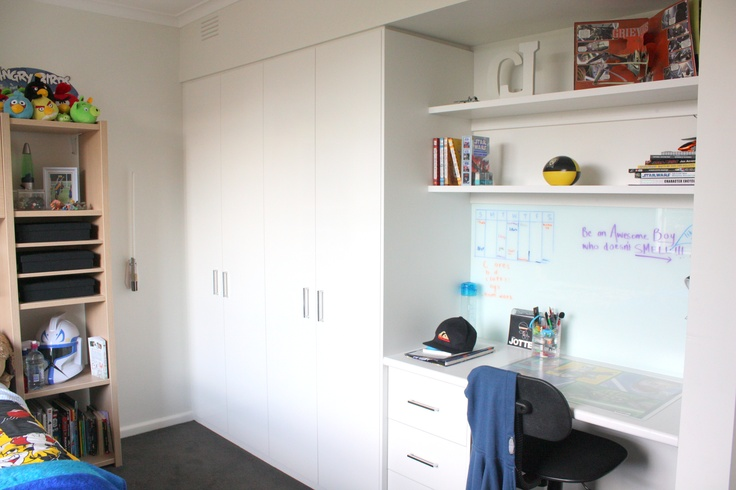 from the house: wardrobe and desk combination - love the splashback for the desk was such a great idea...