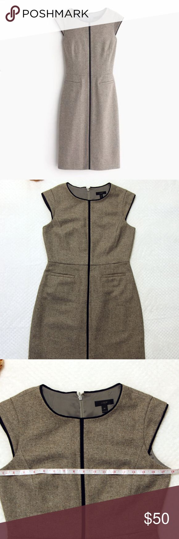 J.Crew Petite 8 cap-sleeve dress in Donegal wool A structured and slimming cap-sleeve dress makes getting out the door in the morning (after that fourth snooze) that much easier and speedier. Made of refined Donegal wool, this sleek sheath is one to keep in your weekly rotation.  -Pre-loved; in excellent condition -Wool/poly. -Back zip. -Pockets. -Lined. -Dry clean. J. Crew Dresses