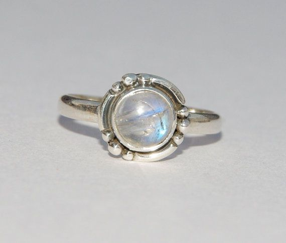 Silver Rings White Rainbow Moonstone Rings by AdornmixJewels