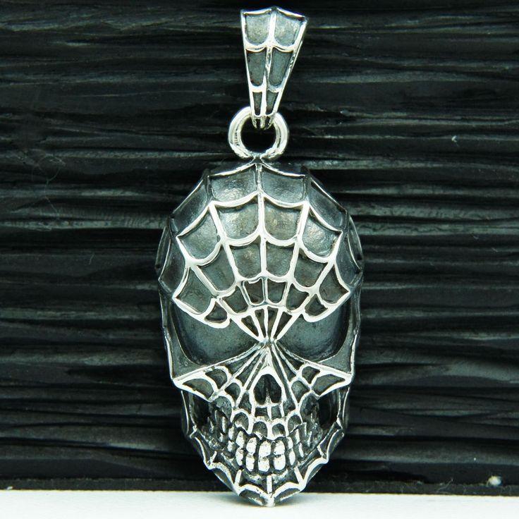 SPIDERMAN THE BLACK VENOM 925 STERLING SILVER BIKER PENDANT jo-043 #Handmade #Pendant