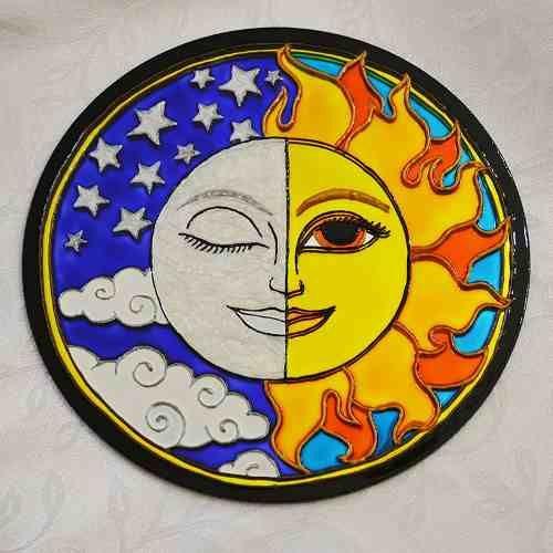 Vitral Mandala Lua E Sol / Sun & Moon Em Espelho 20cm Pintada À Mão