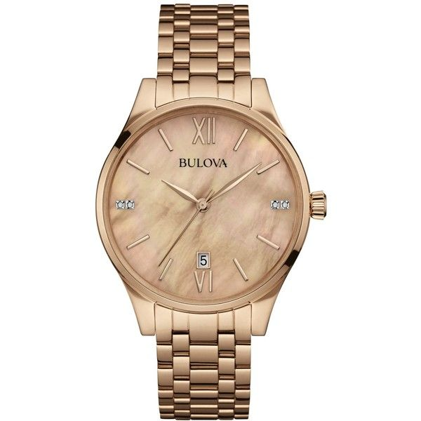 Bulova Women's Diamond Accent Rose Gold-Tone Stainless Steel Bracelet... ($280) ❤ liked on Polyvore featuring jewelry, watches, no color, stainless steel jewellery, bulova watches, stainless steel wrist watch, bulova and roman numeral jewelry
