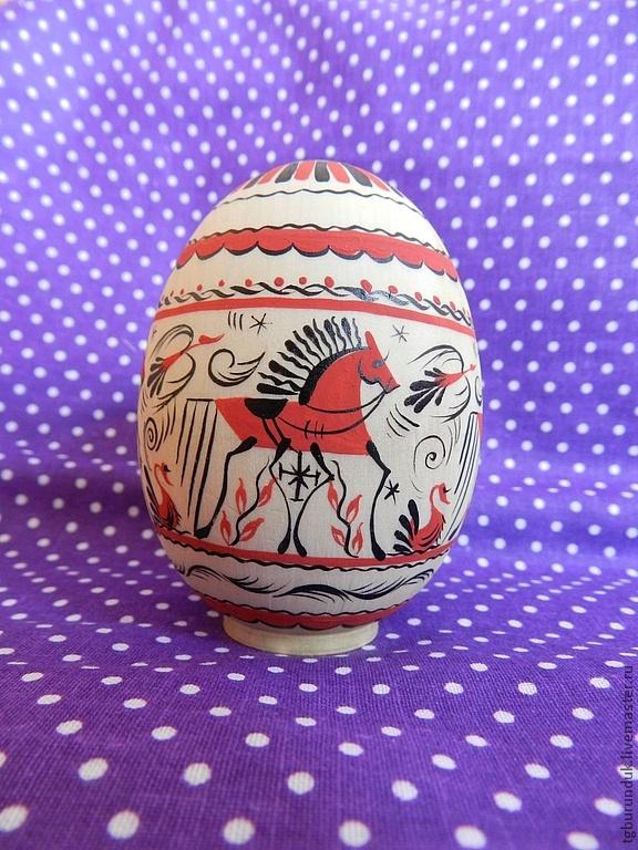 """Яйца ручной работы. Ярмарка Мастеров - ручная работа Яйцо """"Мезенская роспись"""". Handmade."""
