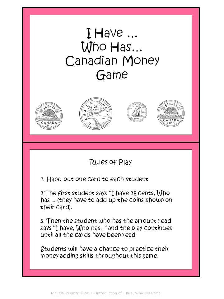 This is a fun way to practice counting money! Contains 24 cards. *Please note: This game is also part of my Canadian Money Unit for Grade 2 for sale on TpT.