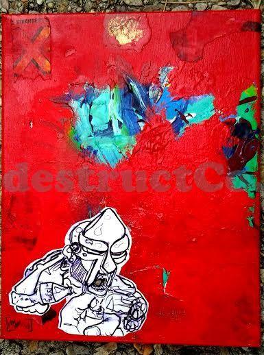 Spare a Light mf doom  Original  destructCo. by destructCo on Etsy,   Hip hop, home decor, indie, urban, red, blue, teal, colorful, gift, kmd, madlib, madvillain, underground, music, mike destructive,  destructCo., mask mf doom, smokimg, fire, lighter, poster, painting, original, buy