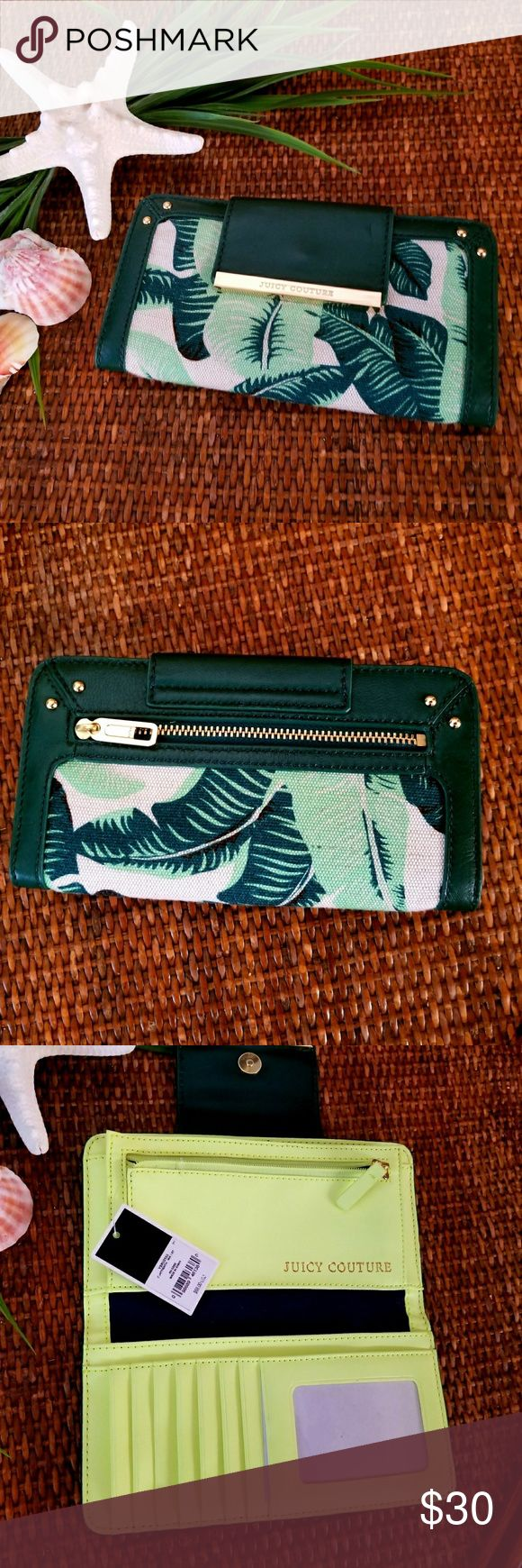 Juicy Couture Banana Leaf Palm Tropical Wallet Brand new with tag. I purchased this online with the matching bag but never used it. Great quality.  I have another I ordered at the same time and it's lasted very nicely. Juicy Couture Bags Wallets