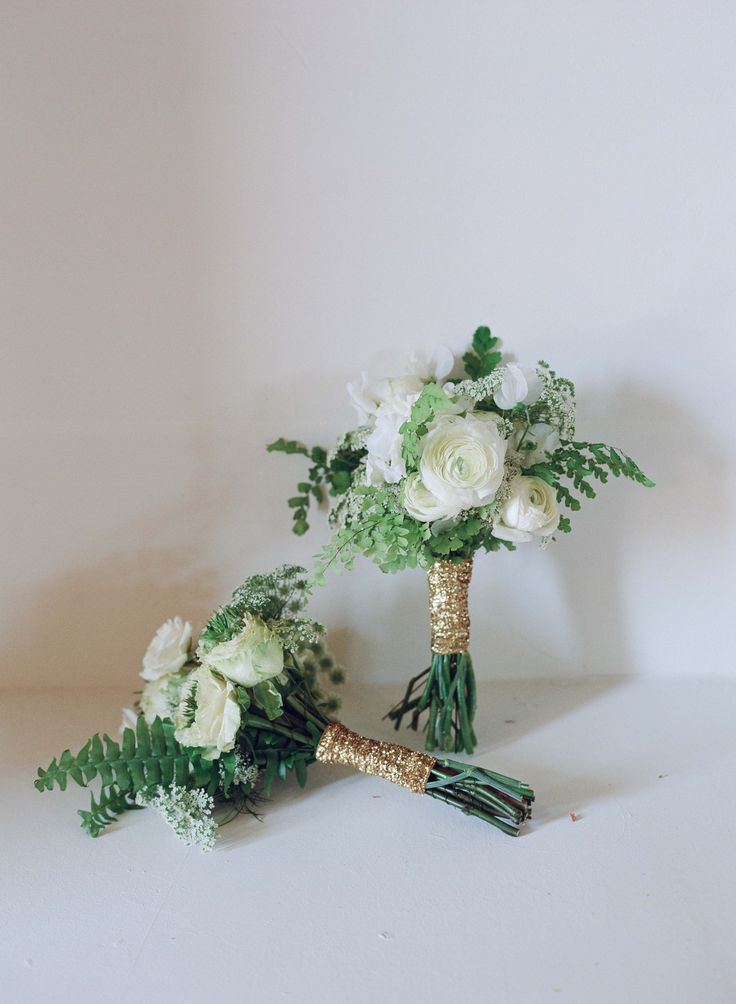 Green & Ivory Bouquet with Ferns, Ranunculus Blossoms, & Glittering Gold Ribbon | Photography: Elizabeth Messina. Read More: http://www.insideweddings.com/weddings/farmers-market-inspired-cocktail-hour-shabby-chic-reception/538/