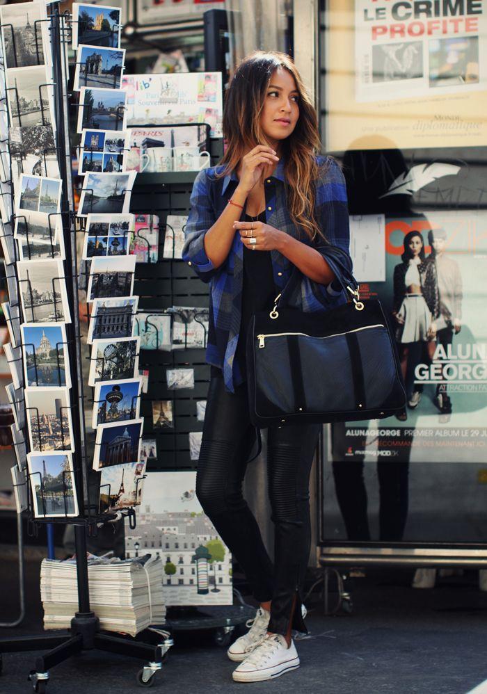 Blogger Style | Julie Sarinana (Sincerely Jules): plaid shirt x black tee x leather pants x white  converse chucks x leather bag
