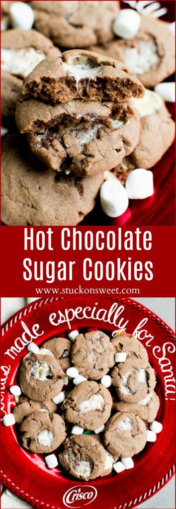 Hot Chocolate Sugar Cookies are the perfect cookie recipe for Santa! @Crisco #ad #BakeItBetter