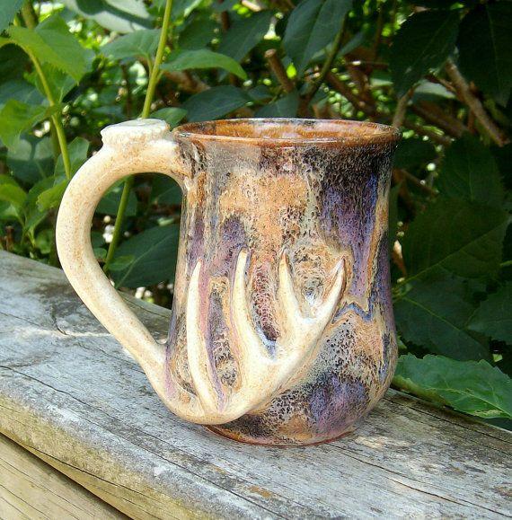 Purple Camo Coffee Mug Handmade Ceramic Pottery Whitetail
