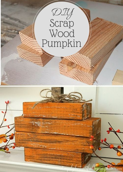 "DIY Scrap Wood Pumpkin. To make this, you will need the following: 2 2x4s cut at 8"", 2 2x4s cut at 6"", and 1 1x2 cut at 1"", orange acrylic paint, wood stain, wood glue or liquid nails, and twine. Click link for full directions."