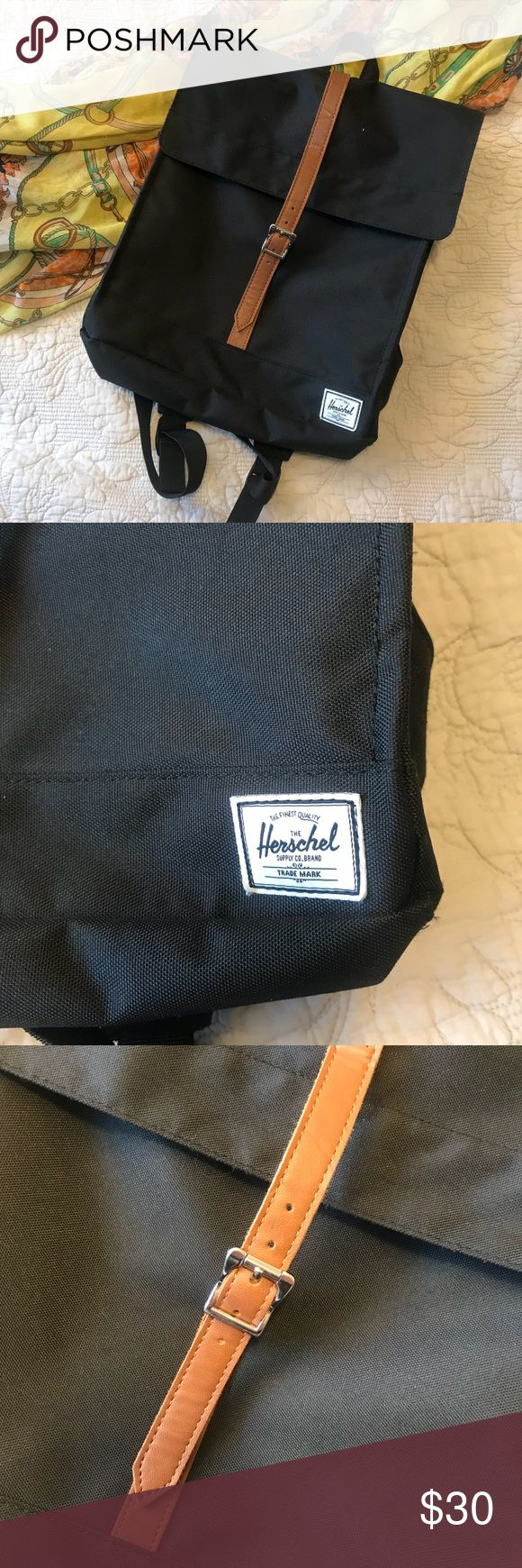 HERSCHEL Black Backpack NEW without tags Herschel backpack. Black on the outside, red print on the inside.   14in long x 12.5in wide Herschel Supply Company Bags Backpacks