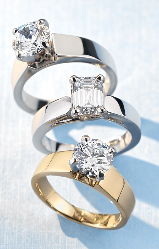 The bold and modern Flat Solitaire Engagement Ring by Blue Nile. Available in platinum, white gold, and yellow gold. Can accommodate any diamond shape!