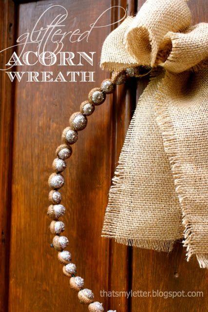 glittered acorn wreath