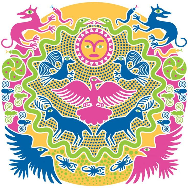 """This illustration is a tapestry interweaving various symbols of Huichol spiritual beliefs.  Rituals, ceremonies and daily life are numerous spiritual beliefs, for example, that the Sun God (Tayau) rules the heavens and brings warmth and illumination to the world, and that his wife, the Mother Goddess (Tatei Werika—the eagle) rules the sky and all living things. Huichols also believe that they descended from """"wolf-people,""""  two serpents surround the world, and that deer serve as spirit…"""