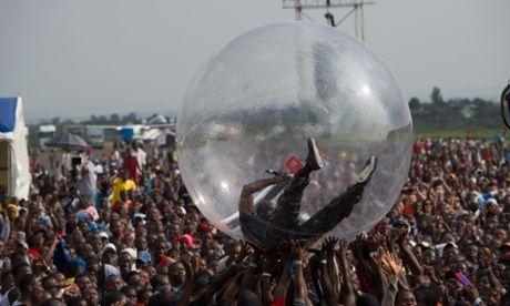 American-Senagalese hip-hop star Akon performs at a concert as part of