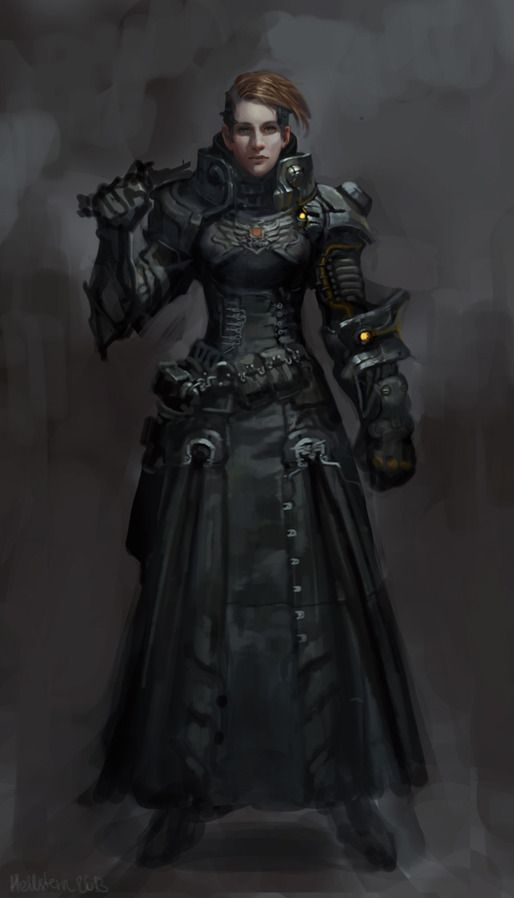 sci-fi female character armor clothes clothing fashion player character npc | Create your own roleplaying game material w/ RPG Bard: www.rpgbard.com | Writing inspiration for Dungeons and Dragons DND D&D Pathfinder PFRPG Warhammer 40k Star Wars Shadowrun Call of Cthulhu Lord of the Rings LoTR + d20 fantasy science fiction scifi horror design | Not Trusty Sword art: click artwork for source