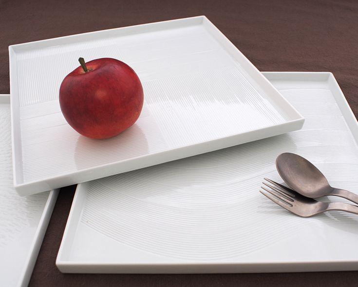 白磁手彫スクエアプレート-和食器webショップ 菖蒲の隠者-