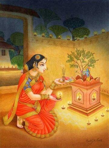 Worshipping Tulsi Maharani along with Krsna