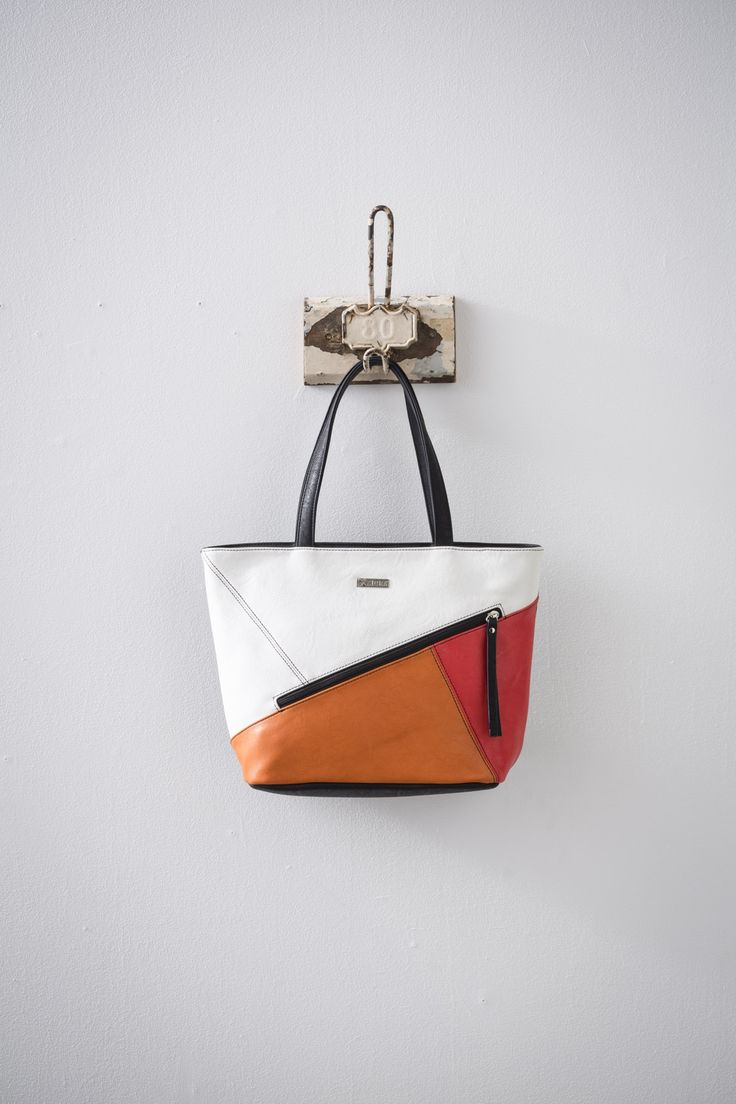 Dendera (Black/White/Orange/Poppy) available at #zierashoes http://zierashoes.com/page/handbags