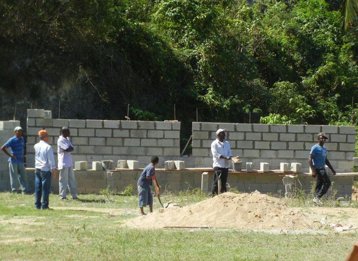 a wall in progress - building a wall around the property donated to the Sociedad Lucas