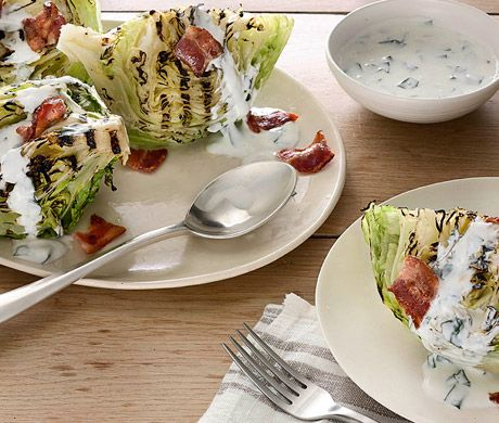 Grilled Iceberg Wedges with Buttermilk-Basil Dressing Recipe | Epicurious.com