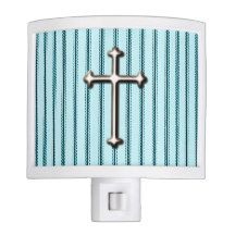 """ Cross"" Faith*  Blue Pinstripe& silver Cross Night Light"