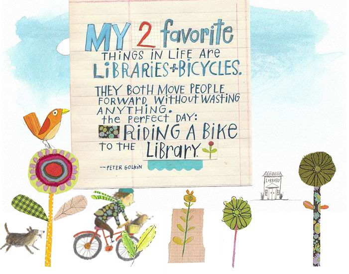 Melissa Sweet's favorite things = libraries + bicycles