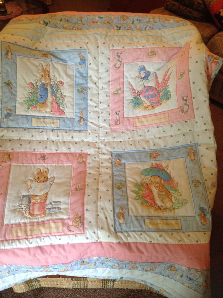 A personal favorite from my Etsy shop https://www.etsy.com/listing/250218144/beatrix-potter-baby-quilt-hand-quilted