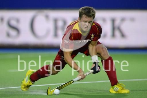 17/08/2013: Belgium's Tom Boon in action during the match of the Red Lions, Belgian men's national hockey team, against Germany, in the Men Pool A at the European Hockey Championships 2013, at the Braxgata hockey club in Boom. (Dirk Waem)