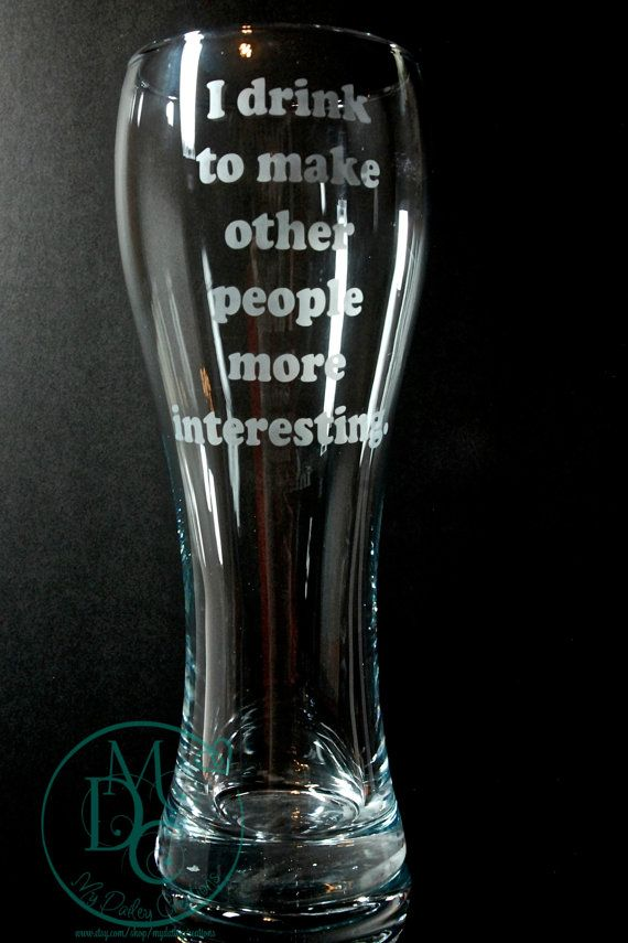 Glass Etched Large Pilsner Beer Glass With by MyDaileyCreations