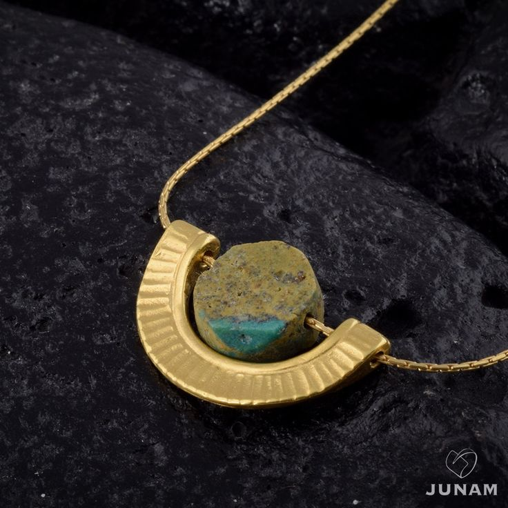 Turquoise and gold Necklace, rough turquoise, 18k gold plated , Egyptian Cleopatra design, unique necklace,100% handmade, beaded necklace. by JunamJewelry on Etsy