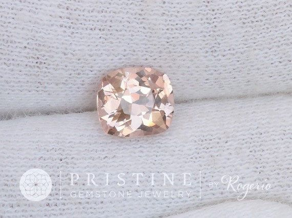Peach Pink Champagne Spinel Cushion Shape for by PristineGemstones