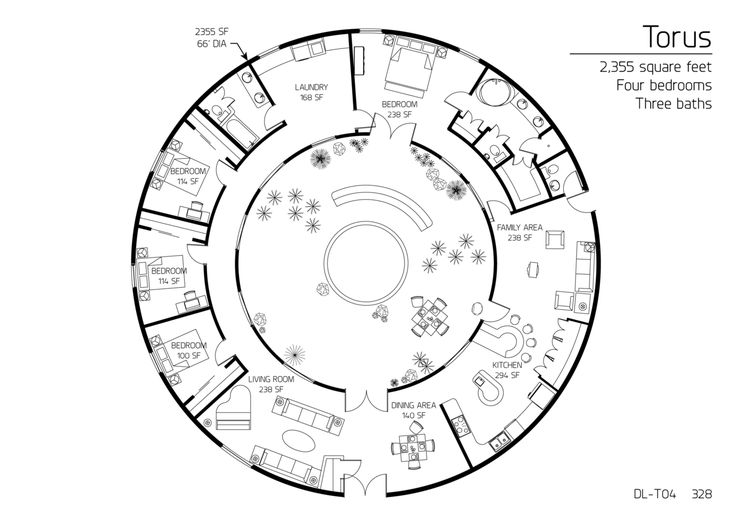 "Floor Plan: DL-T04 Staff • Published on Apr 1, 2013 • ""Torus"" and ""Partial Torus"" Series  Torus Series dome home 2,355 square feet Four bedrooms Three baths"