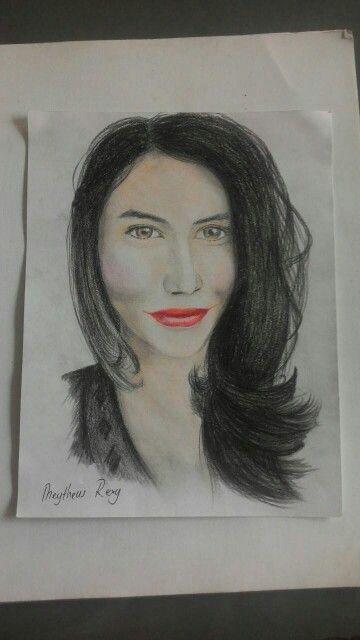 sketsa wajah pensil + warna