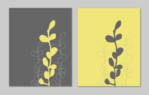Yellow and Gray Bathroom Art Home Decor Prints Seaweed Botanical Prints Modern Bedroom Dining Room Decor - Set of 2 8x10s You Choose Colors, $27.00