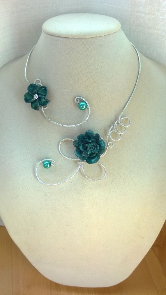 STATEMENT NECKLACE, Teal flower necklace, Aluminium wire necklace, Bridemaid…