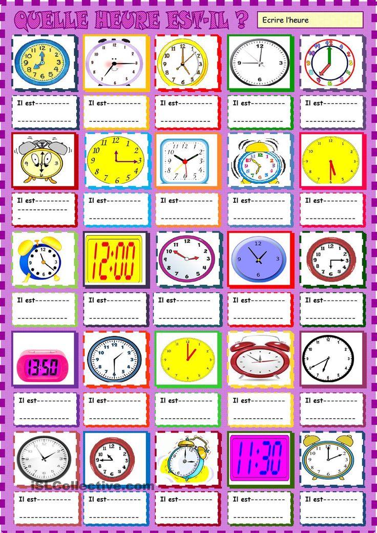 Quelle heure est -il? Ecrire lheure | GRATUIT FLE fiches pédagogiques
