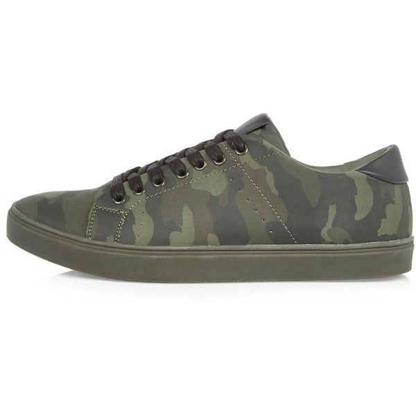 River Island Green camo trainers (€28) ❤ liked on Polyvore featuring men's fashion, men's shoes, men's sneakers, green, shoes, mens lace up shoes, mens green shoes, mens camo sneakers and mens camo shoes