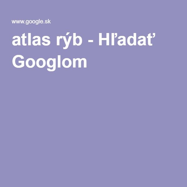 atlas rýb - Hľadať Googlom