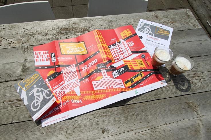 Infographic over Utrecht Fietsstad op posterformaat achterop de fietskaart voor nieuwe inwoners.
