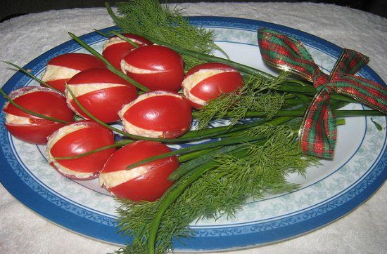 These tomato tulips make a great garnish for a Mother's day meal or girl's birthday day meal. This salad decoration is so easy that even kids can do it as a surprise for their loved ones.