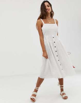 f40f51ca660 DESIGN broderie midi sundress with button front in 2019