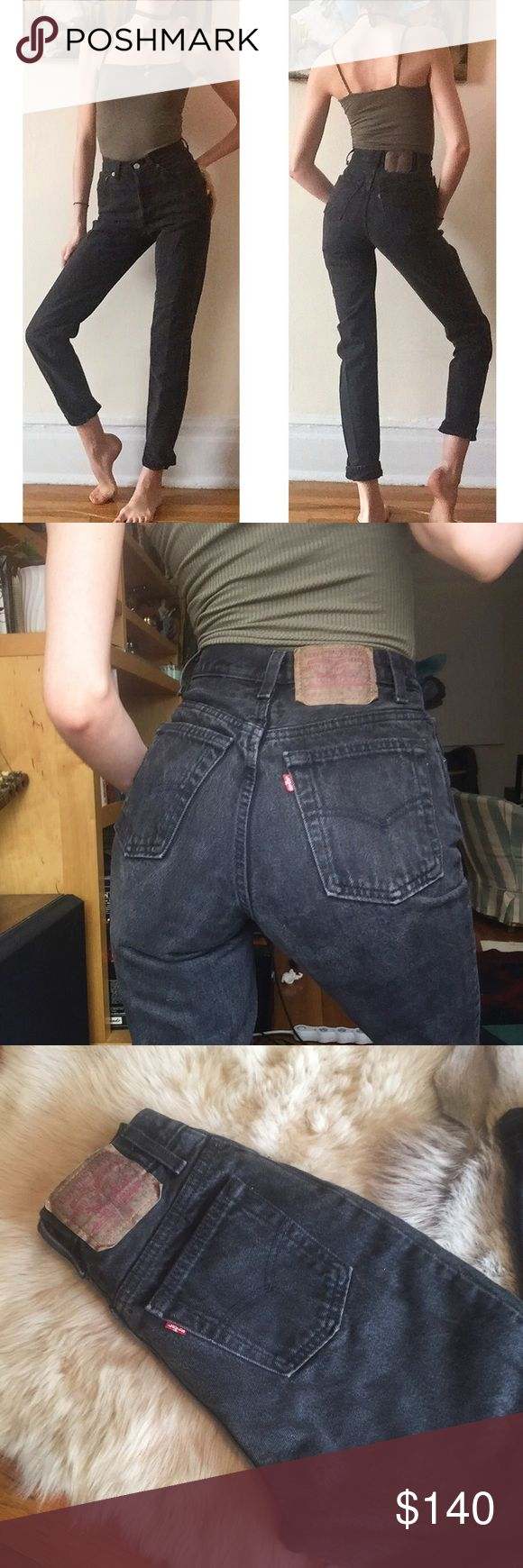 """❄️Vintage 501 Washed Black Levi's 24❄️ Amazing and GORGEOUS washed black vintage 501 Levi's! 23.75"""" waist, 10.5"""" rise, 31"""" inseam! Great quality denim and these actually hug your butt! They have awesome vintage wear and fading! No holes! Upon purchase, I can cut off and fray the hem to any measurement if you'd like. Seriously BEAUTIFUL jeans!! Levi's Jeans"""