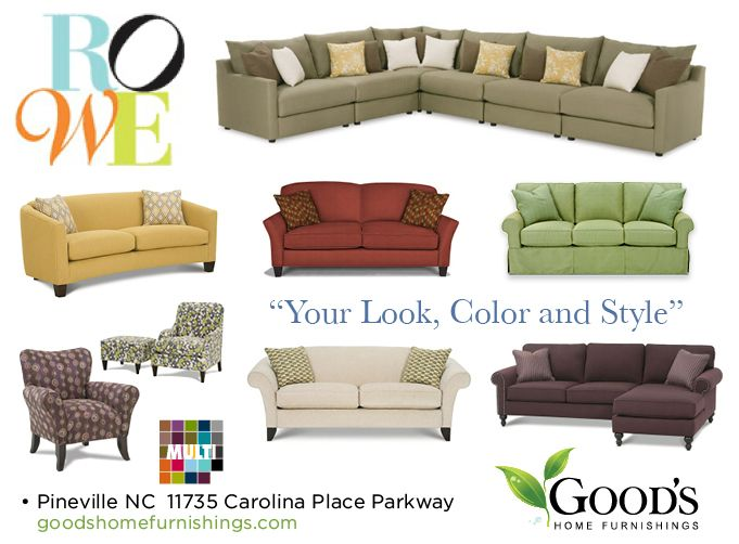 Good's Home Furnishings welcomes you to the world of comfort, stylish Rowe Furniture in Charlotte North Carolina. Hundreds of custom color pallets and styles to choose from. Our designers can help you pull it all together. Colors and styles to match your personality. http://www.goodshomefurnishings.com/rowefurniture/