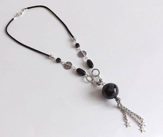 Negro collar de la joyería tierra gris brillante moderno y