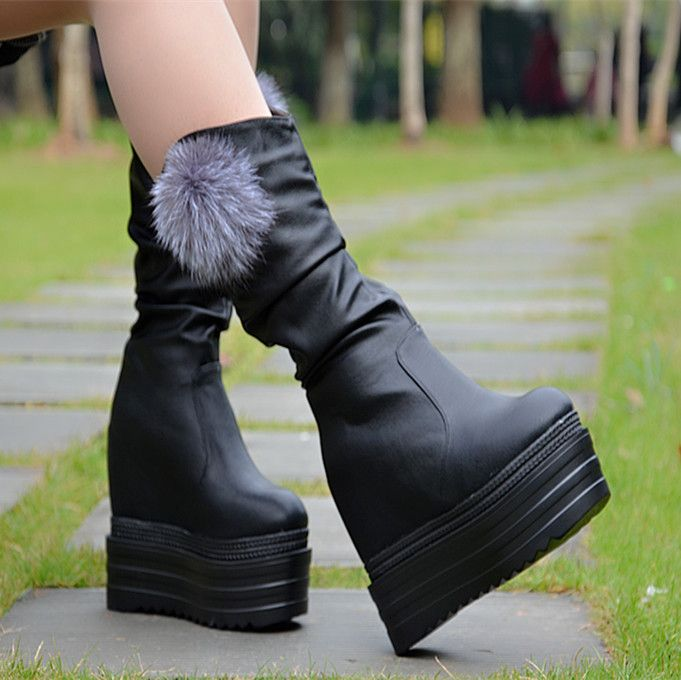 Autumn and winter Korean version of the fur ball height increased snow boots Plus velvet bottom with high-heeled slope wedge sho