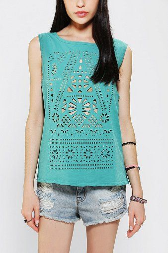 Title Unknown Laser Cut Muscle Tee